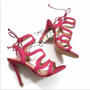 NWT Express Pink Lace Up Caged Slim Heels